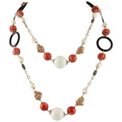 Onyx Pearls White Agate Red Bambù Rose Gold and Silver Necklace