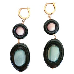 Marina J Pink Coral,Onix rings and Aventurine Dangle Earrings with 14 K Gold