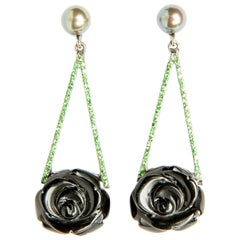 Onyx Roses Pearls and Tsavorites in 18 Karat Gold Dangle Earrings