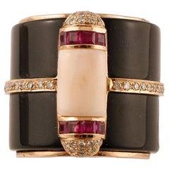 Onyx, Rubies, Diamonds, Pink Coral, 14 Karat Yellow Gold Vintage Ring