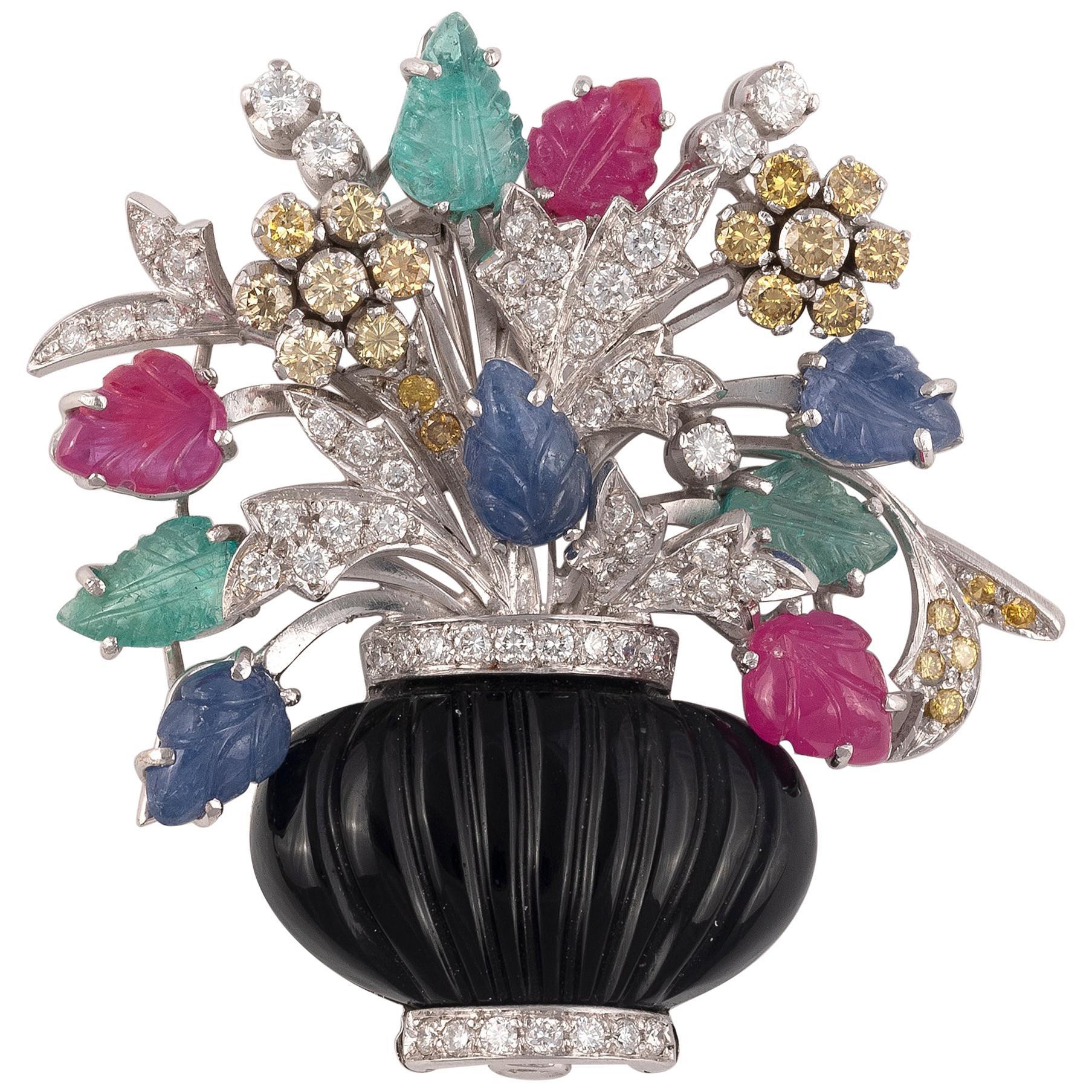 Onyx Sapphire Ruby Emerald Diamond Gold Giardinetto Brooch