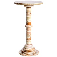 Onyx Side Table with Pedestal Base, Italy, 1960s