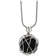 Onyx Sphere and Diamond Platinum Wire Pendant and Chain