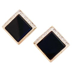 Onyx Square Earrings With Crystal Rhinestone Accents By Panetta, 1970s