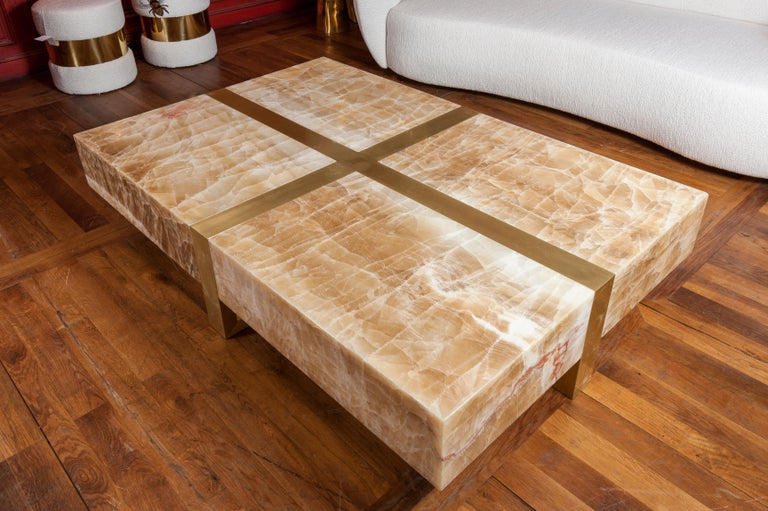 French Onyx Stone Coffee Table by Studio Glustin For Sale