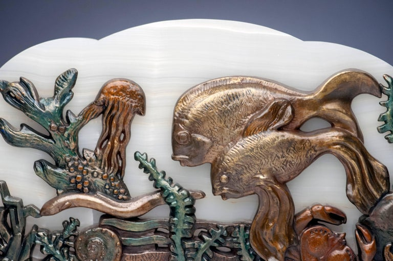 French Onyx Table Lamp with Underwater Fish and Coral Scene For Sale 5