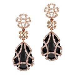 Goshwara Pear Onyx Teardrop Cage And Diamond Earrings