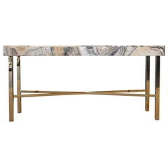 Onyx Top Console Table with Brass Base