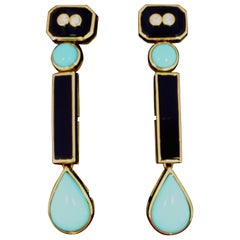Onyx Turquoise Diamond and Gold Art Deco Dangling Earrings