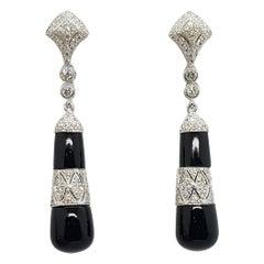 Onyx with Diamond Earrings Set in 18 Karat White Gold Settings