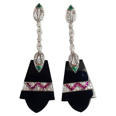 Onyx with Emerald, Ruby and Diamond Earrings set in 18 Karat White Gold Settings