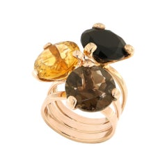 Onyx Yellow Brown Topaz Rose Gold Ring Handcrafted in Italy by Botta Gioielli