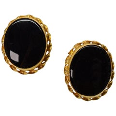 Onyx Yellow Gold Button Stud Earrings