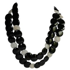 Onyx Yellow Jade Vermeil 925 Long Gemstone Necklace