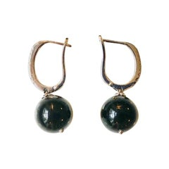 Onyx, Zircon and 925 Silver Blueberry Earrings