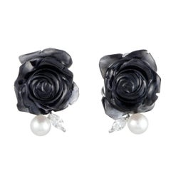 Onyx, Pearl and Diamond Gold Clip-On Earrings