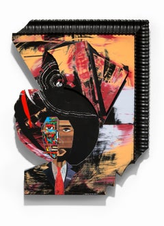 """""""Mental Capacity"""" Mixed Media, Fictional Image of African American, Iconic Color"""