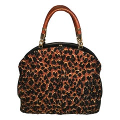 OOAK Abigail Made in Italy Contessa Leopard Beaded Gown Top Handle Leather Tote