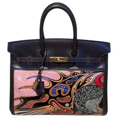 OOAK HERMES Box Calf Amazonia Birkin 35 with Hand Painted Dragon