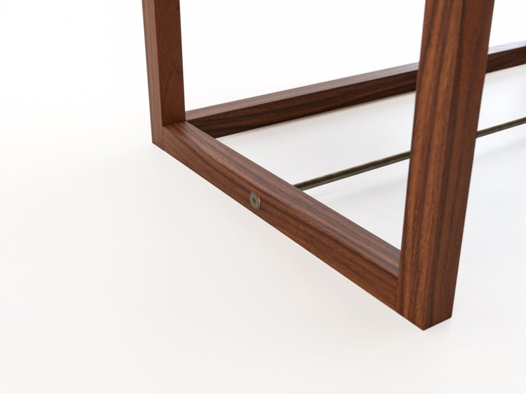 Oona Bedside or Side Table in Medium Walnut with Antique Brass Fittings In New Condition For Sale In Los Angeles, CA