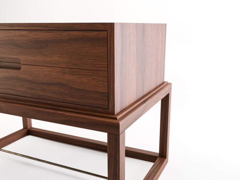 Oona Bedside or Side Table in Medium Walnut with Antique Brass Fittings For Sale 1
