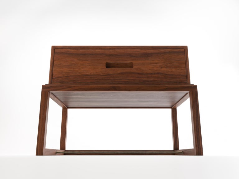 Oona Bedside or Side Table in Medium Walnut with Antique Brass Fittings For Sale 3