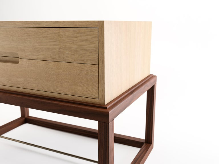 New Zealand Oona Bedside or Side Table in Oak and Walnut with Antique Brass Fittings For Sale