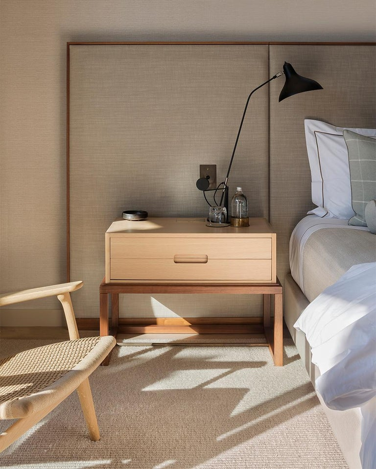 Oona Bedside or Side Table in Oak and Walnut with Antique Brass Fittings For Sale 1
