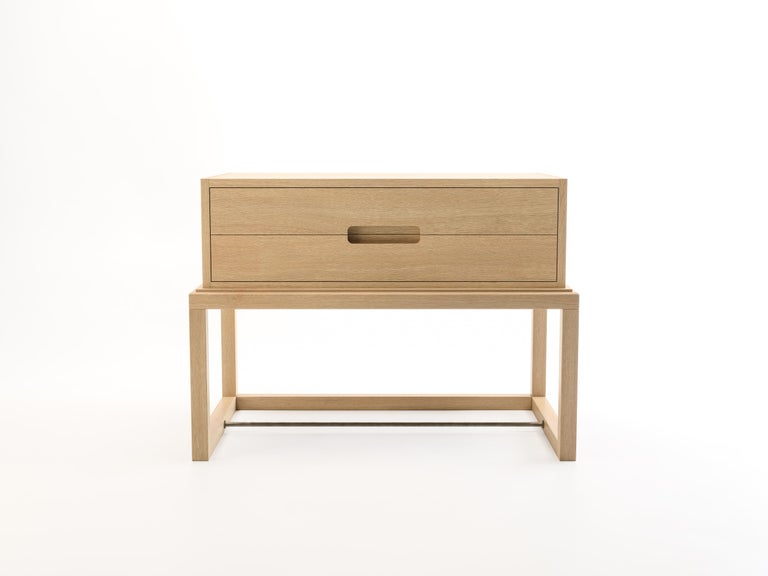Modern Oona Bedside or Side Table in Oak with Antique Brass Fittings For Sale