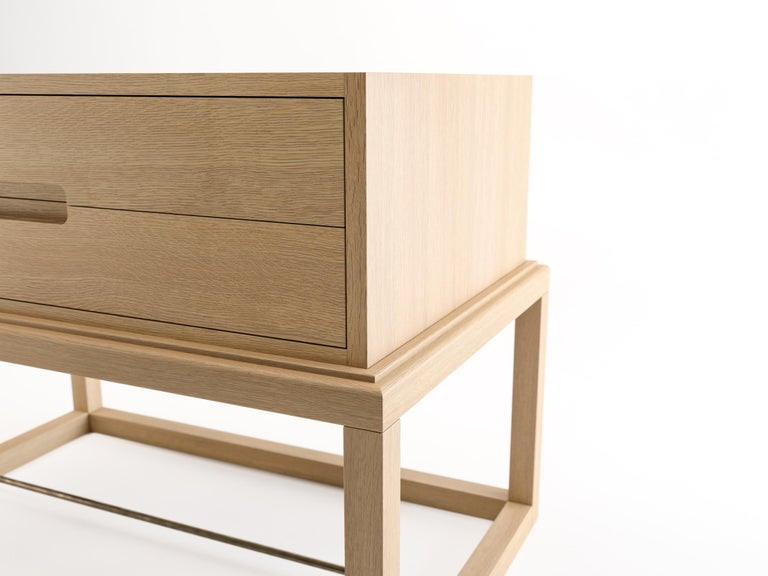 Contemporary Oona Bedside or Side Table in Oak with Antique Brass Fittings For Sale