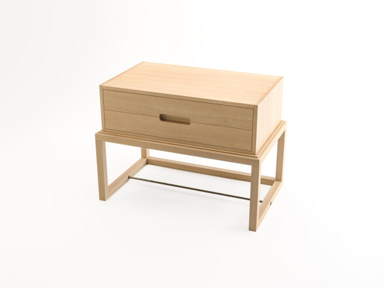 New Zealand Oona Bedside or Side Table in Oak with Antique Brass Fittings For Sale