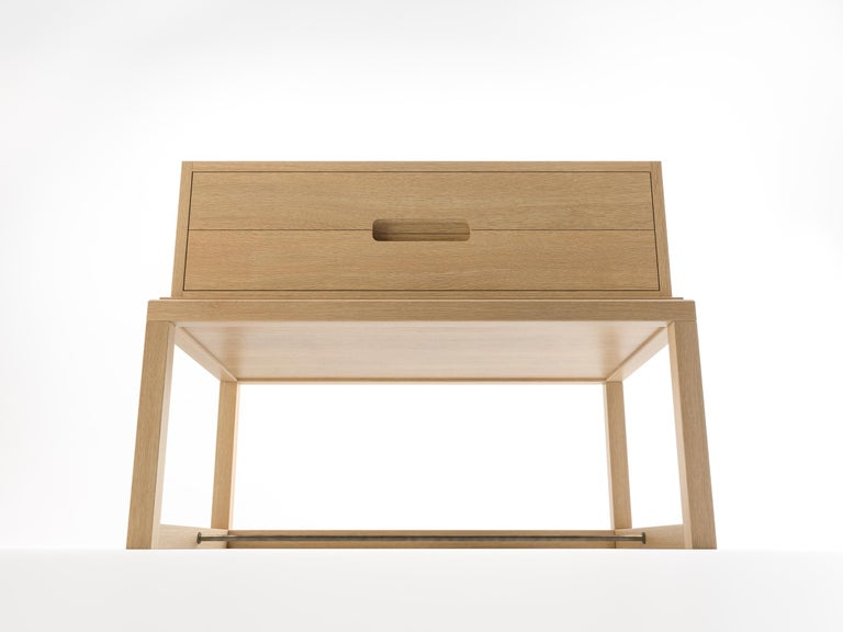 Oona Bedside or Side Table in Oak with Antique Brass Fittings For Sale 2