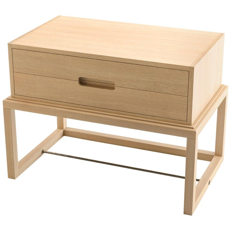 Oona Bedside or Side Table in Oak with Antique Brass Fittings For Sale