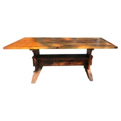 Oozing with Character Large Rustic Pine Farm Table with Hand Hewn Base