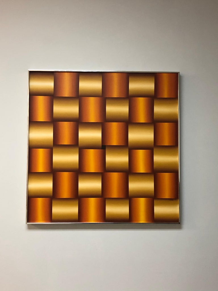 A large 1970s op art painting. The illusion of a interweaving metal bands is masterfully achieved. Signed and dated. Retains retailer's sticker from 1978. Retains original metal gallery frame. 36.5