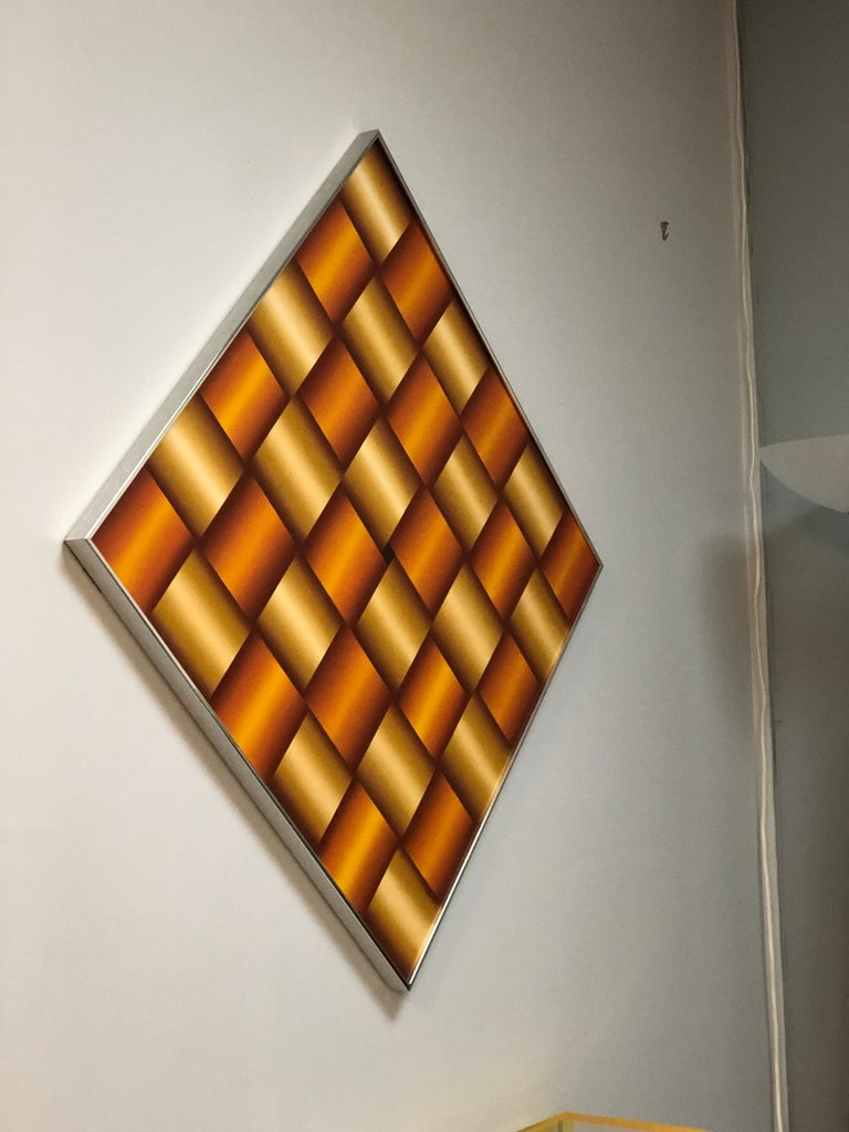 Late 20th Century Op Art Abstract Geometric Oil Painting, 1978 For Sale