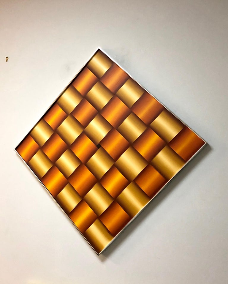 Op Art Abstract Geometric Oil Painting, 1978 For Sale 1