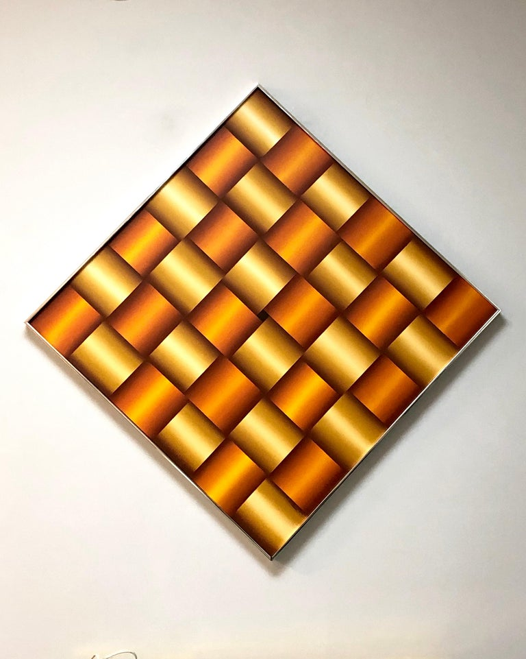 Op Art Abstract Geometric Oil Painting, 1978 For Sale 3