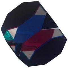 Op Art Acrylic Octagonal Cube Sculpture by Vasa Mihich