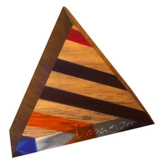 Op Art Acrylic Triangle Pyramid Sculpture / Paperweight by Vasa Mihich