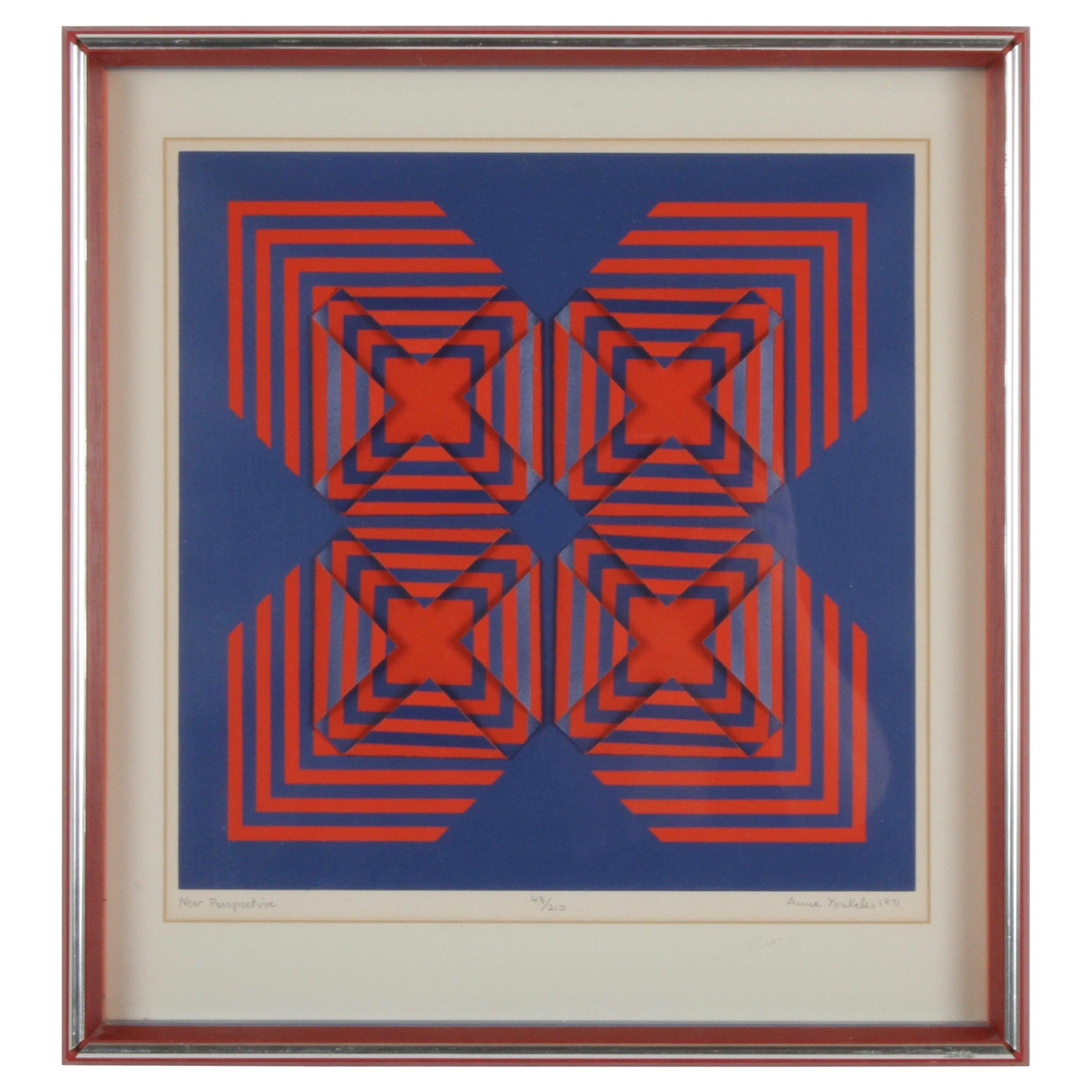 Op-Art Artist Anne Youkeles New Perspective Signed 3-D Serigraph Collage, 1971