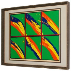 Op Art by Linda Harter Many Rainbows in Bold Colors Green