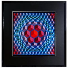 Op-Art Framed Serigraph by Victor Vasarely Printed by Editions du Griffon, 1972