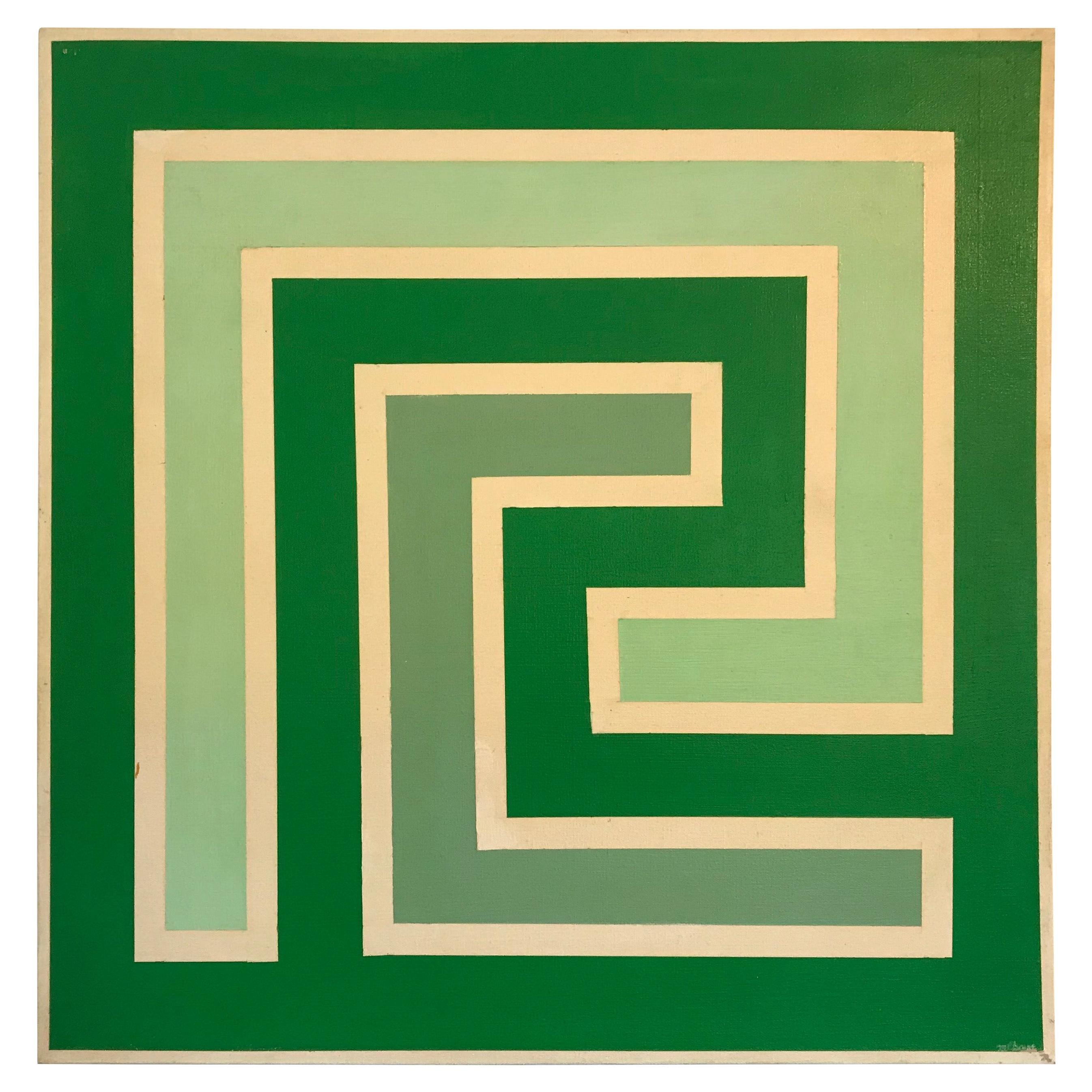 Op Art Hard-Edge Painting, 20th Century