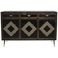 Op Art Murano Black and White Glass Clad Chest of Drawers with Brass Hardware