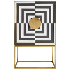 Op Art Pieced Glass and Brass Bar