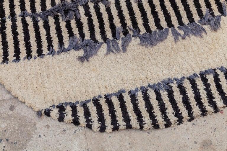 Scandinavian Modern Op-Art Round Rya Black and White Rug Wall Hanging Carpet, 1960s, Sweden For Sale