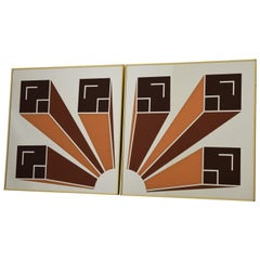 Op Art Set of 2 Reverse Painted Mirrors