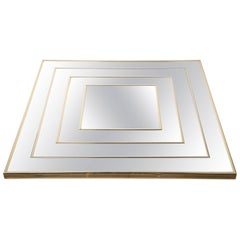 Op Art Square Brass Framed Mirror
