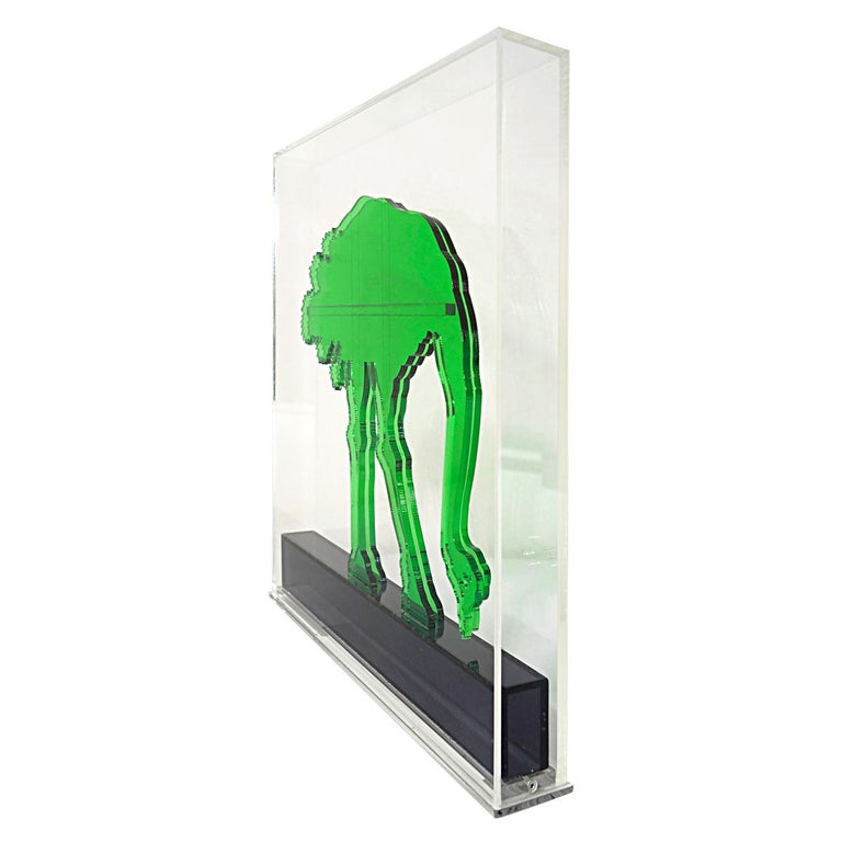 Op-Art Style Green Plexiglass Ostrich Made by Gino Marotta For Sale 5